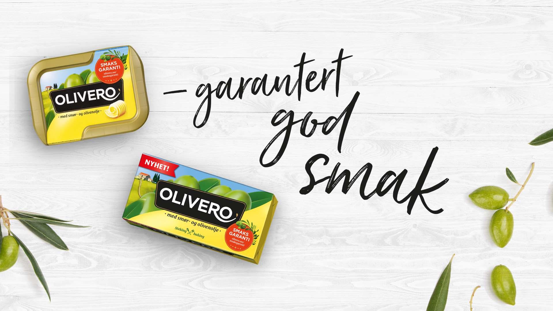"""packshots Olivero beger og steke og bake med tekst """"garantert god smak"""""""""""