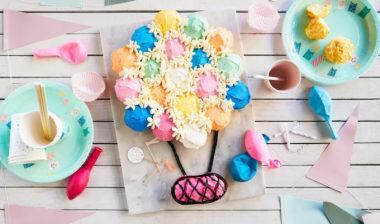 Muffinskake formet som luftballong