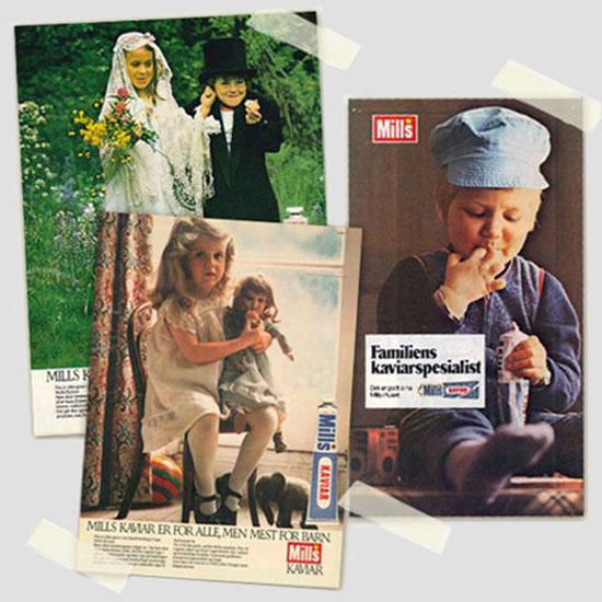 Gamle reklameplakater for Mills Kaviar