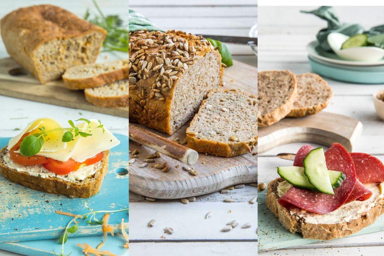 en brøddeig, tre brød: gulrotbrød, solsikkebrød og vanøttbrød
