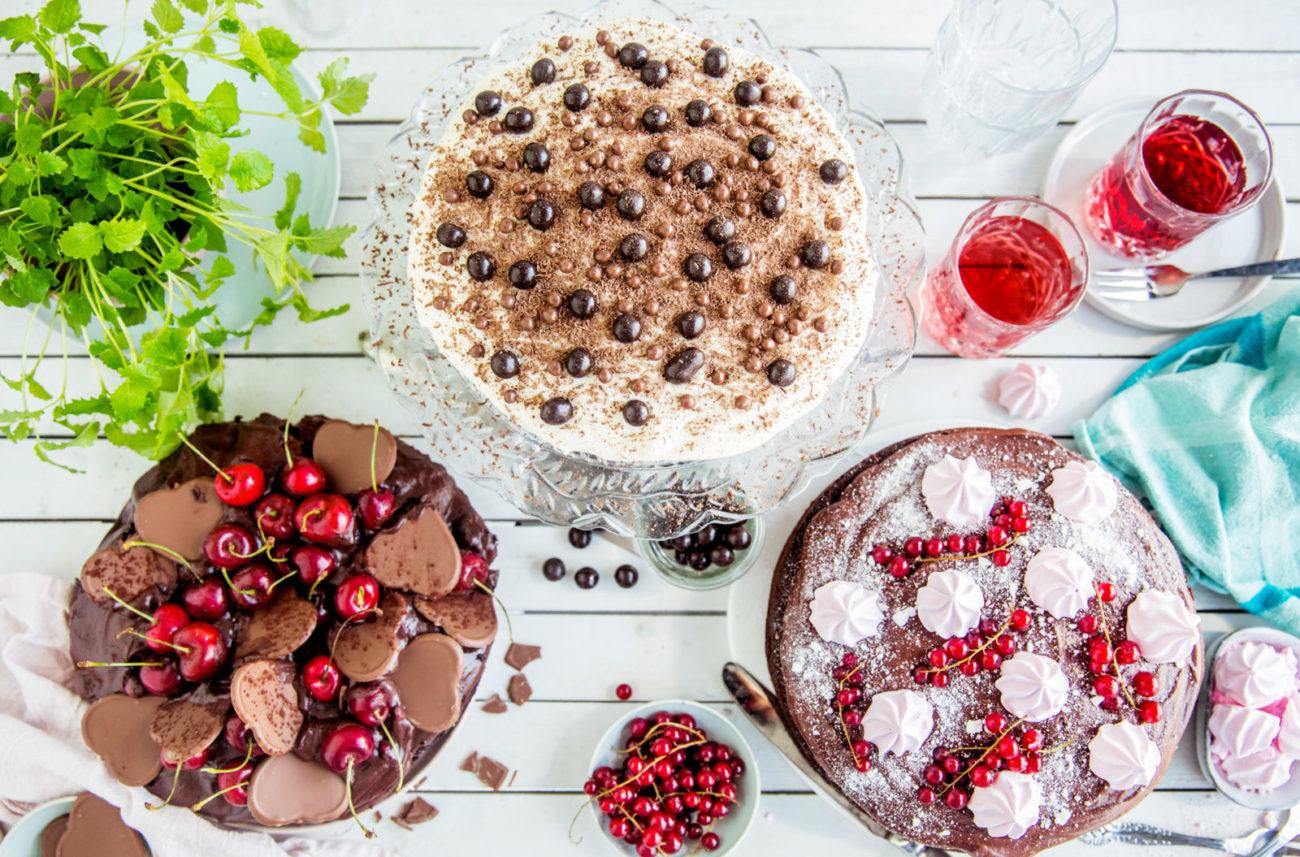 Tre sjokoladekaker