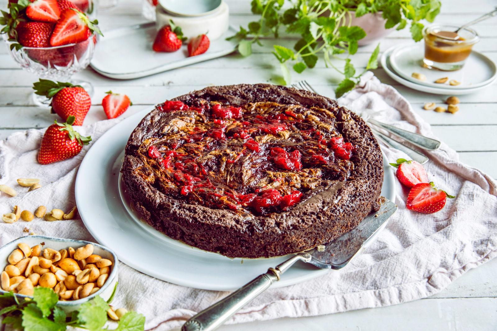 Brownies med peanøttsmør og syltetøy