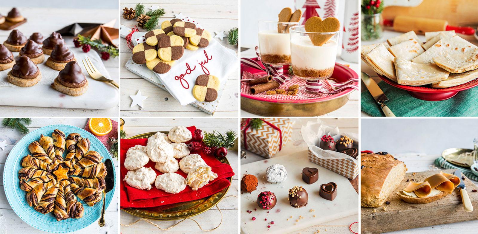 Samlebilde med forskjellige julekaker.