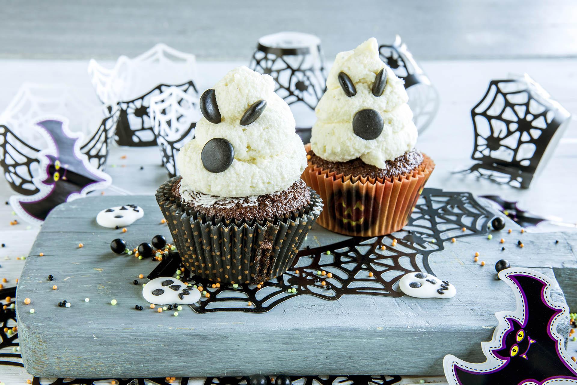 Halloween muffins sinte spøkelser