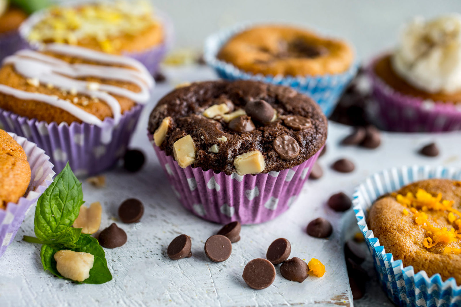 Triple chocolate muffins. Foto.