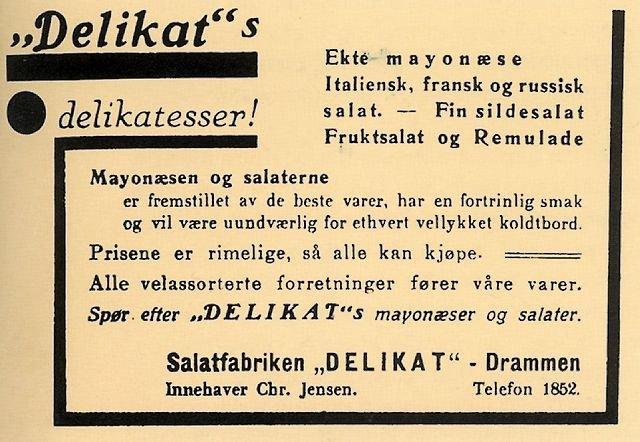 Den første Delikat-annonsen