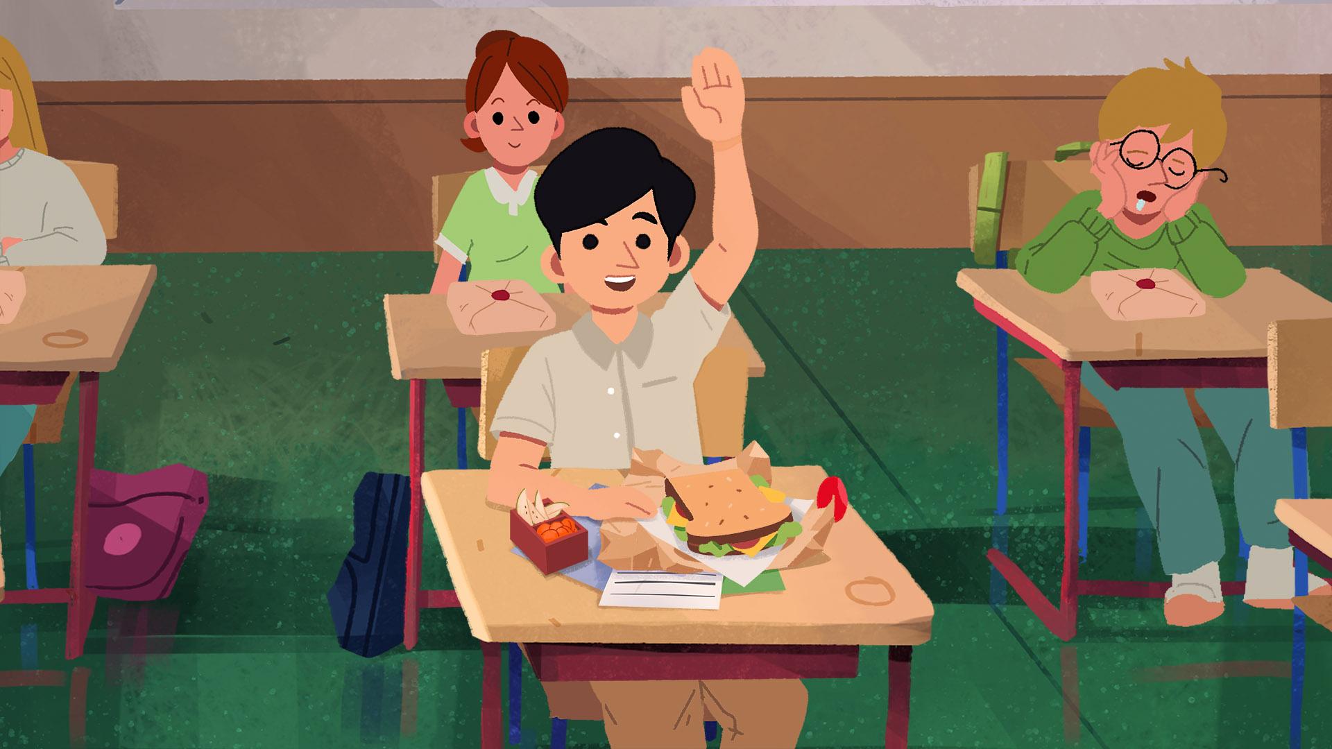Ung gutt rekker opp hånden i skoletimen