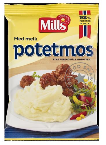 Potetmos med melk fra Mills. Foto av pakning.
