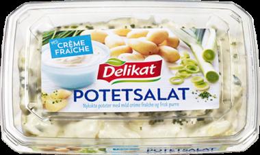 Delikat potetsalat med crème fraîche og purre