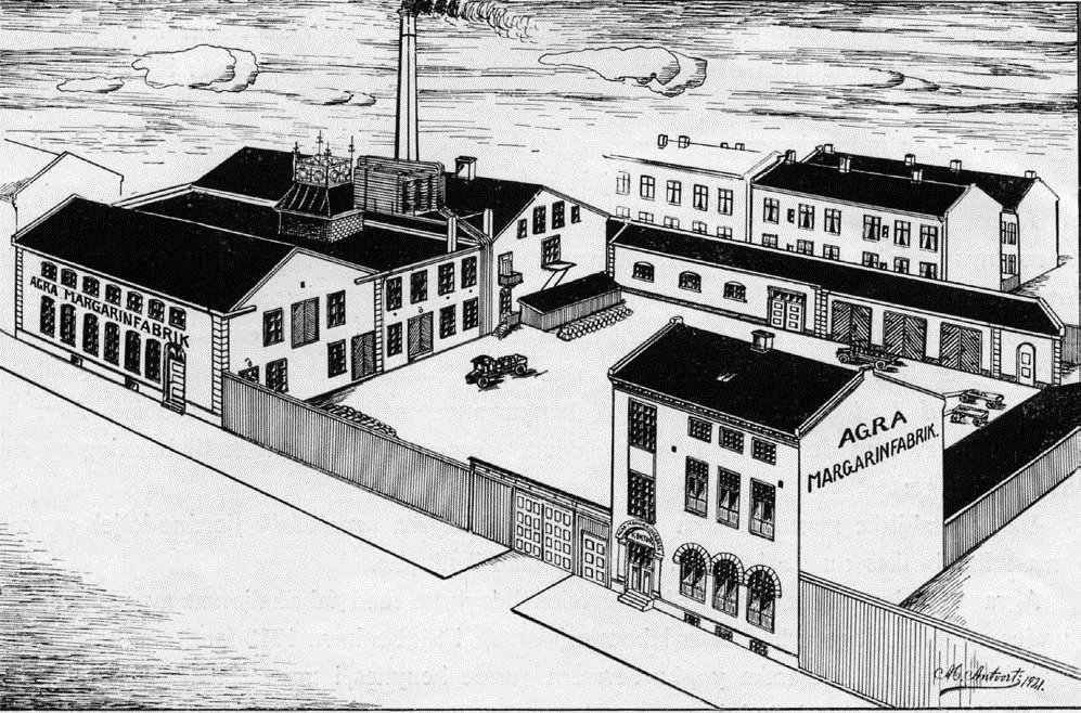 Agra Margarinfabrikk - tegning fra 1921