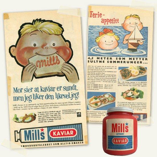 Mills kaviar gammel reklame