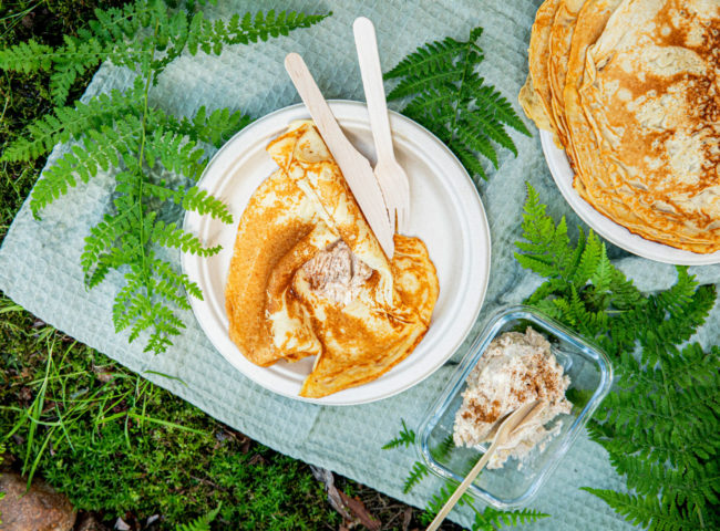 Turpannekaker med sukker og kanel og Melange
