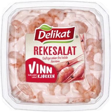 Delikat rekesalat pakning med Vinn kjøkken-emblem