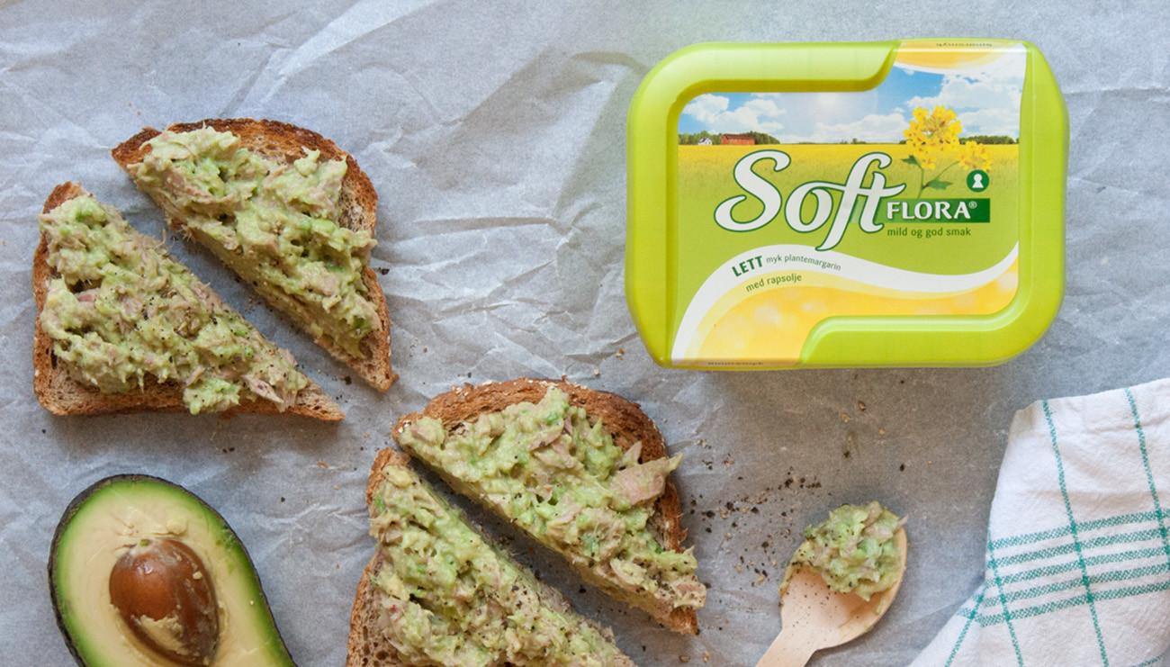 Brød med Soft Flora Lett og avocado