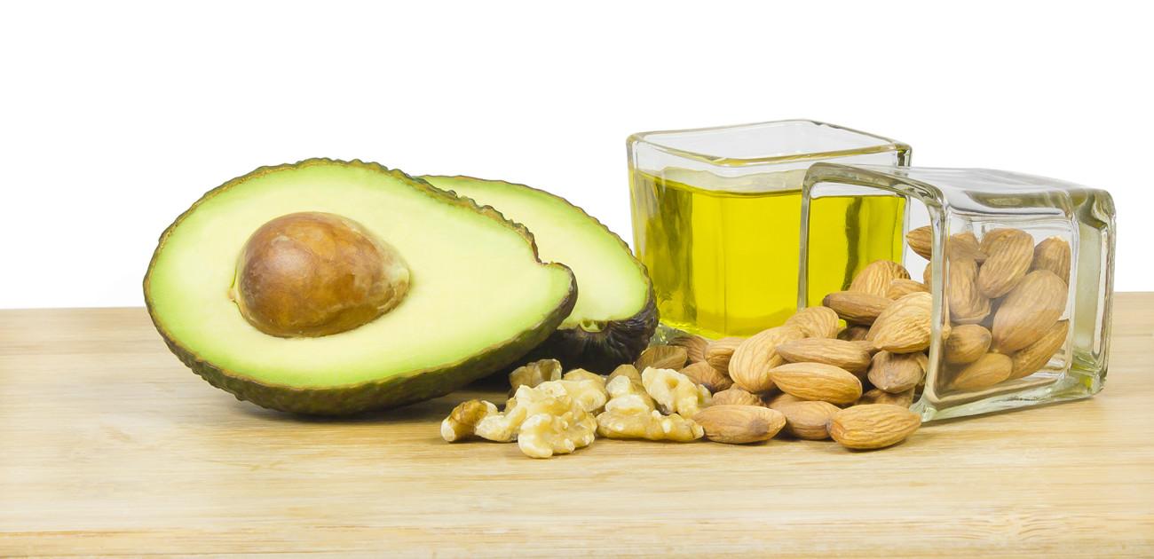 olje, avokado og nøtter